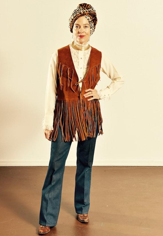 70's Suede Fringe Vest/ Vintage Suede Fringe Vest… - image 1