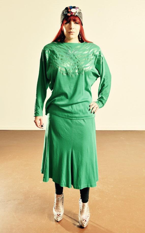 80/'s 2 Piece Suit 80/'s Animal Print Suit 80/'s Animal Print Emerald Suit Size 12-14