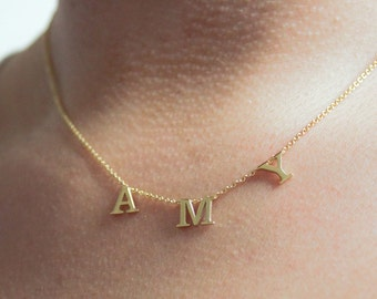 Tiny Spaced Out Personalized Name Necklace • Custom Nameplate Necklace • Name Charm • Silver Plated • Gold Plated • Rose Gold Plated • Gift