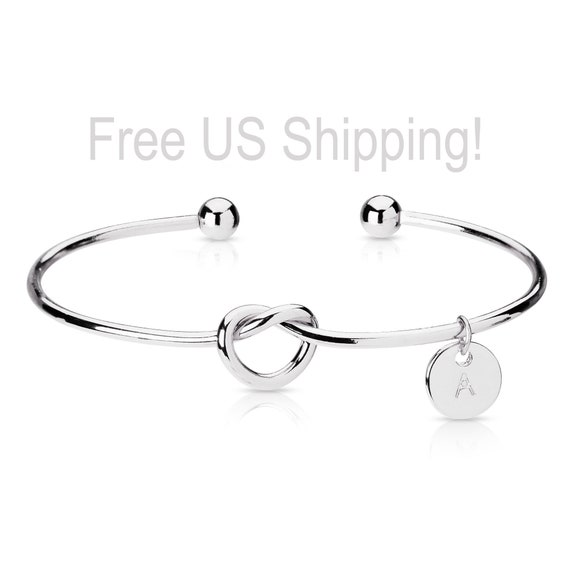 Set of 6-Personalized Bow Bracelet--Sterling Silver Twisted Bow Tie the knot Bracelet and oval Initial Tag-Bridemaids Gift-Everyday Bracelet