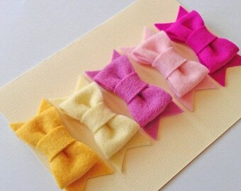 Set of 5 100% Wool Felt Hair Bows