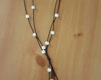 Genuine freshwater big hole pearls with leather cord necklace