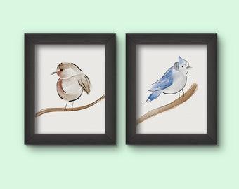 Printable Bird Art - Watercolor - Robin and Blue Jay