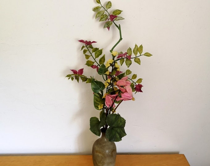 mauve and yellow spray,1950s realistic plastic artifical flowers Vintage tall bunch of plastic flowers with pink cyclamen
