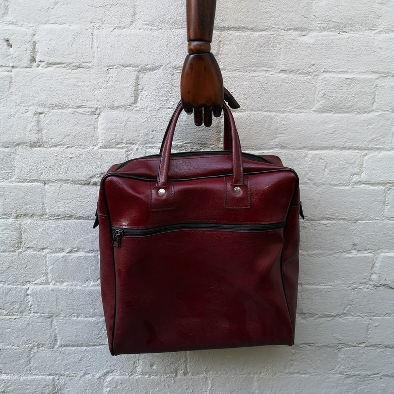 overnight case hand luggage or work bag sports bag old style shopper made in the GDR Large dark red vinyl bag