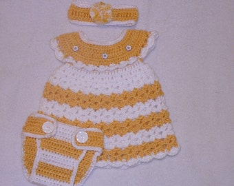 Infant crochet yellow and white dress with matching diaper cover and headband