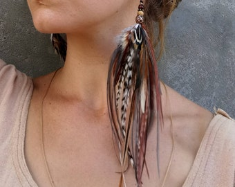 Brown feather earring single. Mono earring with natural feathers. Boho earrings with real feathers. Burnt orange feather earring.