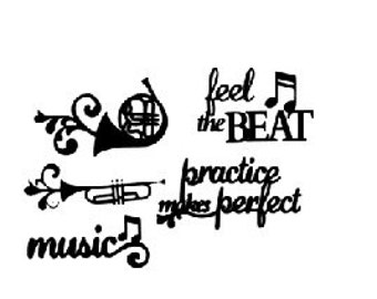 Musical Decal (instruments and sayings)