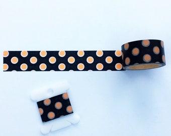 Black and Orange Polka Dot Washi Tape—24 inch Sample