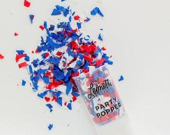Fourth of July Confetti Poppers, Red White and Blue Confetti, Patriotic Confetti