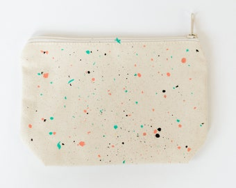 Coral + Teal Confetti Print Pencil Pouch/Makeup Bag Hand Painted Confetti Print By Women in Recovery