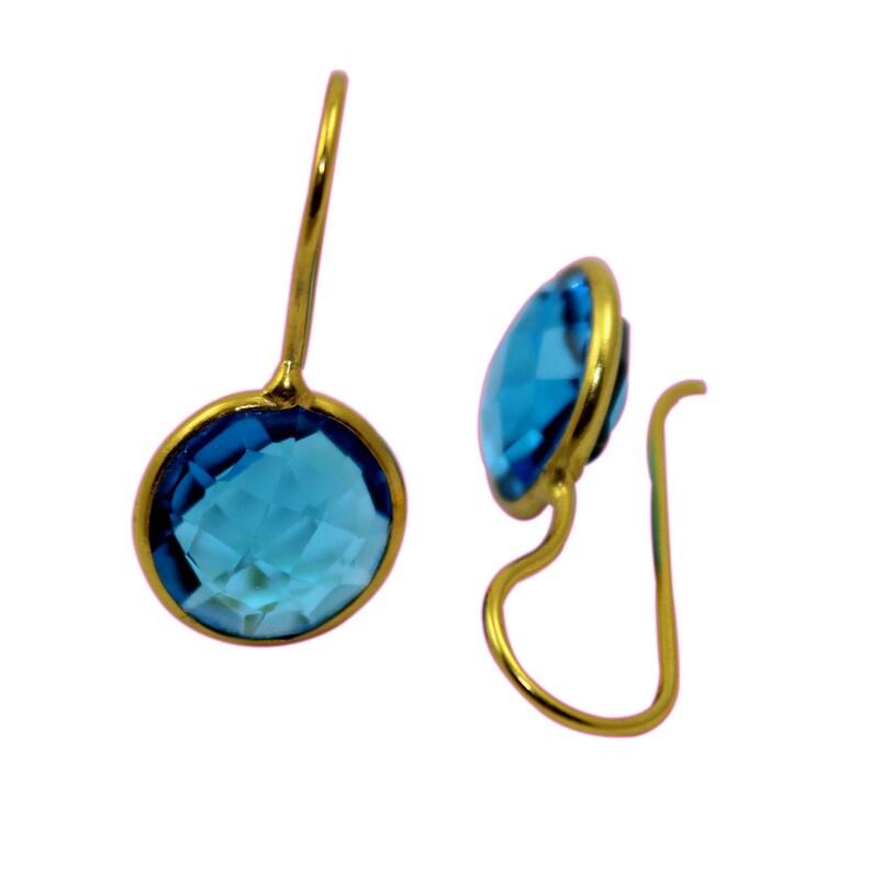 Round Tiny Dangle Earrings Gifts For Women Girls Yellow Gold Plated Earrings London Blue Quartz Earring Garnet Quartz Minimalist Earring