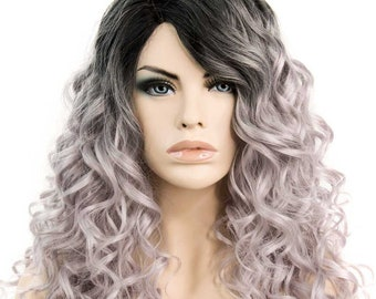 22 Inches Silver with Black Roots Curly Synthetic Wig 150% Density [LEAH]