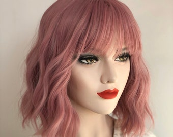 Dusty Rose Pink Wavy Wig with Bangs  315f37d03c58