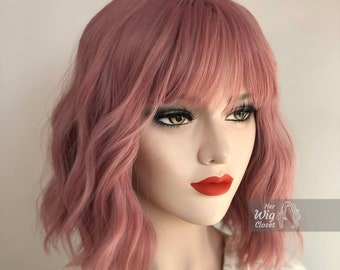 Dusty Rose Pink Wavy Wig with Bangs | Katy