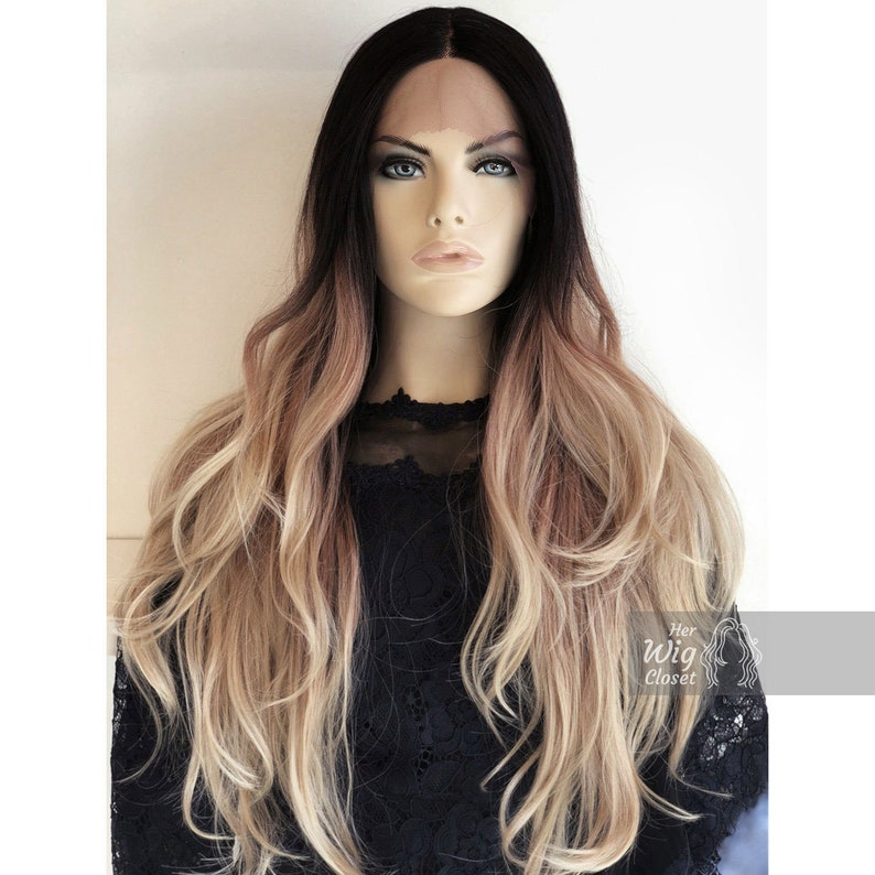 Blonde Lace Front Wig Black Roots Blonde Ombre Hand Tied Lace Chloe
