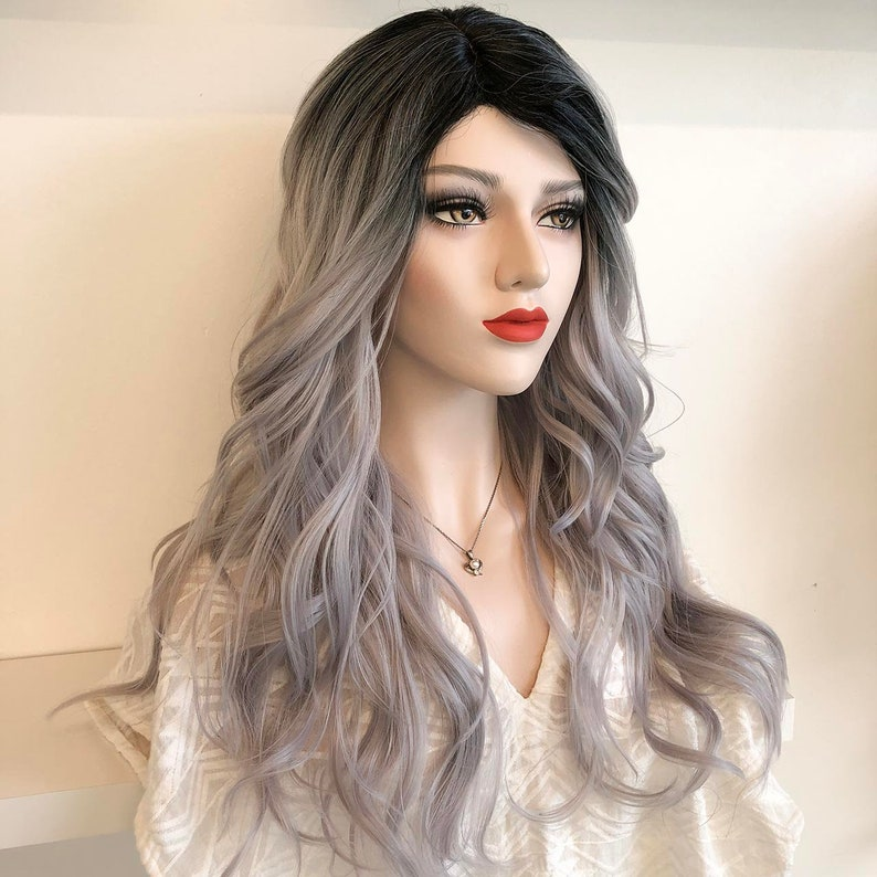 f007684321b Silver Wig Dark Root with Silver Ombre Natural Wavy Heat