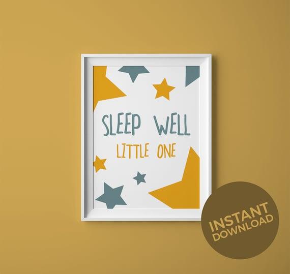 Sleep Well Little One Print Instant Download Nursery Decor Etsy