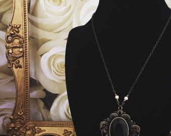 Romantic Victorian Gothic Necklace with Swarovski Pearl Accents