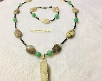 Drusy agate stone necklace and bracelet