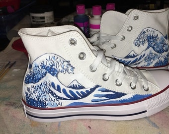 76ad5663b06d The Great Wave off Kanagawa hand painted onto converse high tops