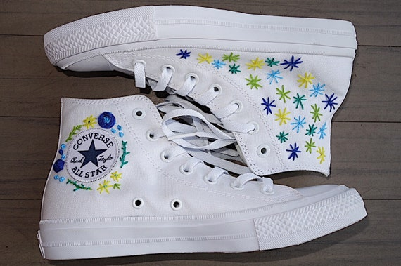 Custom Embroidered Flower Converse