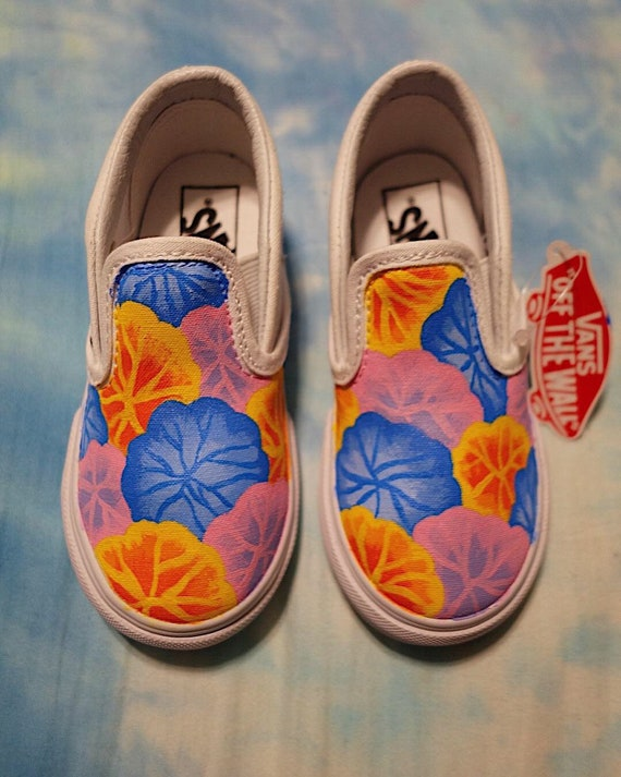Hand Painted Flower Vans for Toddlers