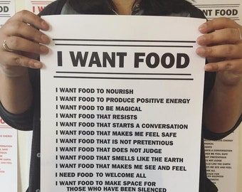 I WANT FOOD - Letterpress Print