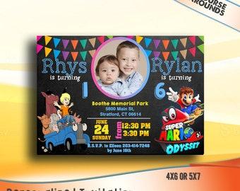Joint birthday etsy sibling birthday invitation double birthday invitation dual combined twins birthday invitation filmwisefo