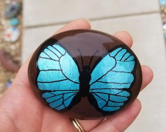 Blue Butterfly painted rock