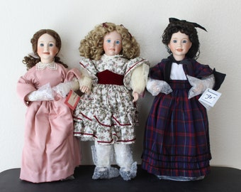 """Ashton-Drake """"Little Women"""" Porcelain Dolls: Meg, Amy and Jo"""