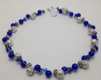 Blue silver braided necklace