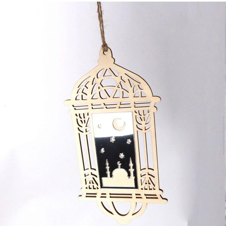Eid or Ramadan Decorations Wooden Lantern Ornament With Silver Acrylic