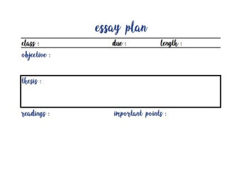 BULLET JOURNAL: Simple Essay Plan in Blue