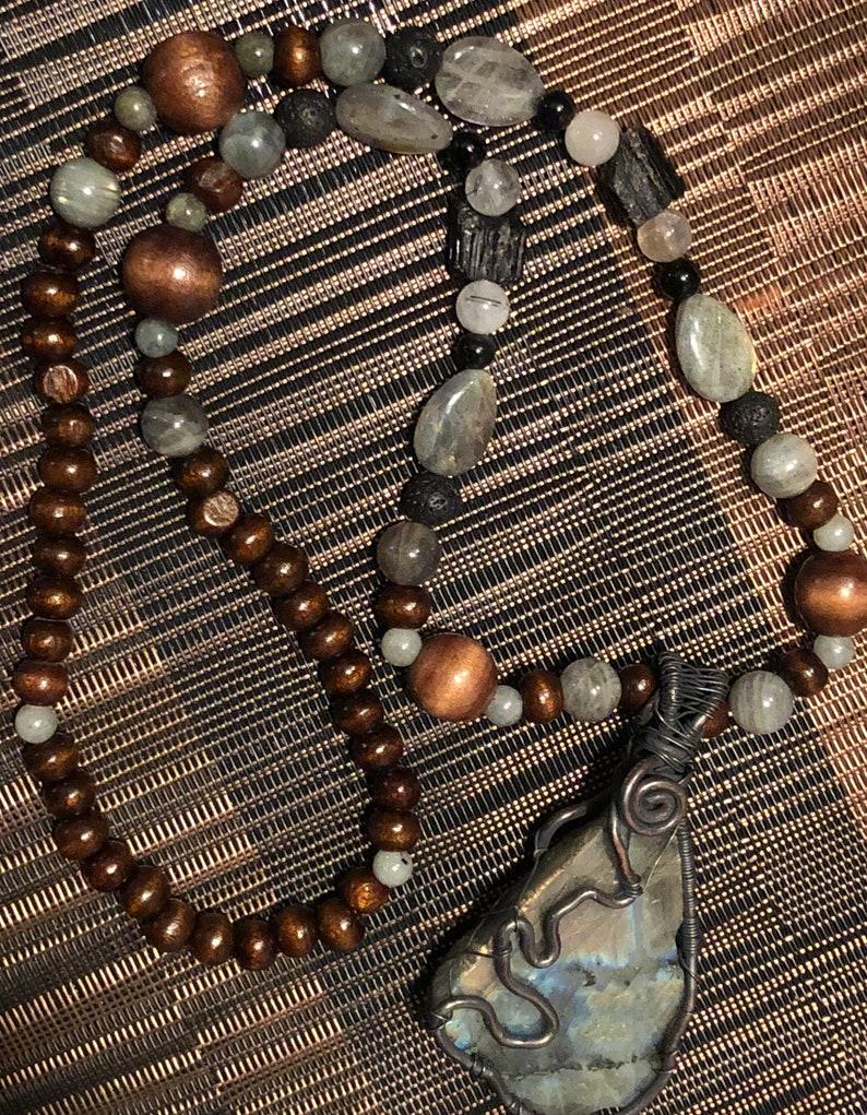 Beautiful unique Flash Labradorite necklace