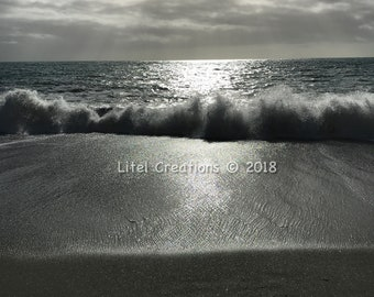 Crashing waves at Monterosso al Mare, Cinque Terre, Italy, Beach Photography