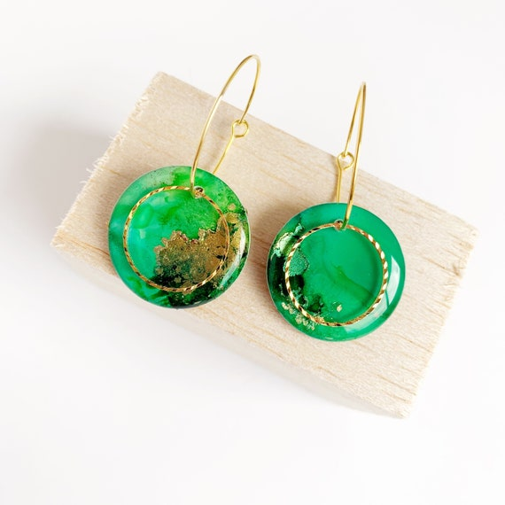 Painted Petite Gold Hoop Earrings-  Green and Gold