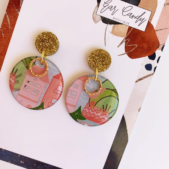 Drawn Dangle Earrings - Pink City with GoldFindings