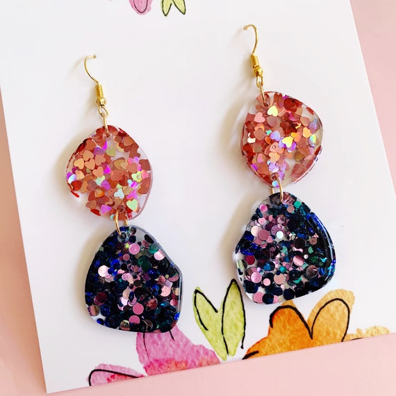 Rose Pink & Turquoise Glitter Drop Earrings