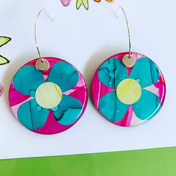 Contrast Daisy Ink + Resin 3.5cm Silver Hoop Earrings