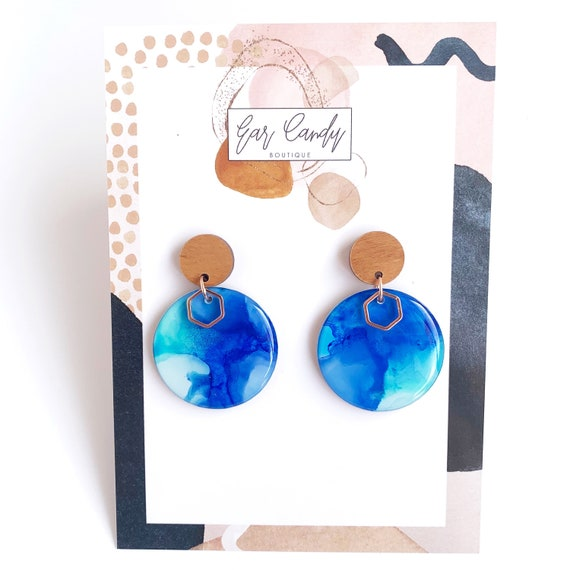 Painted Dangle Earrings - Medium Blue + Aqua  with Rose Gold Findings