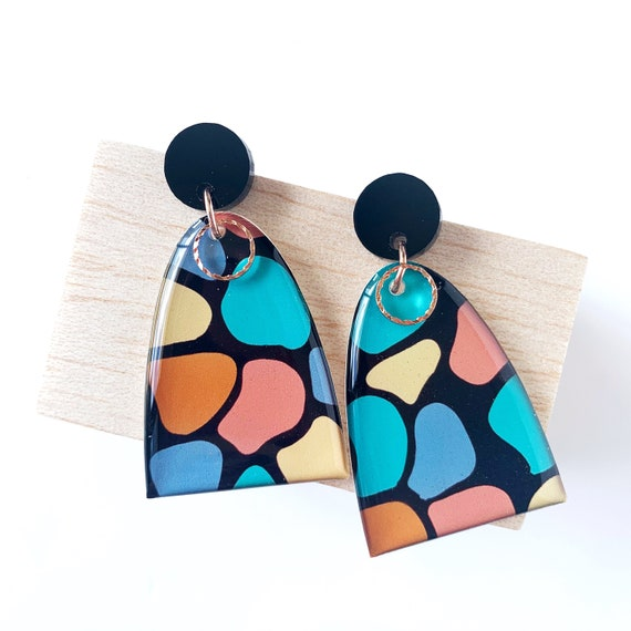 Drawn Dangle Earrings - Pebbles with Rose Gold Findings