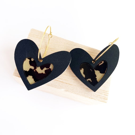 Acrylic Heart Hoops - Matt Black + Light Leopard