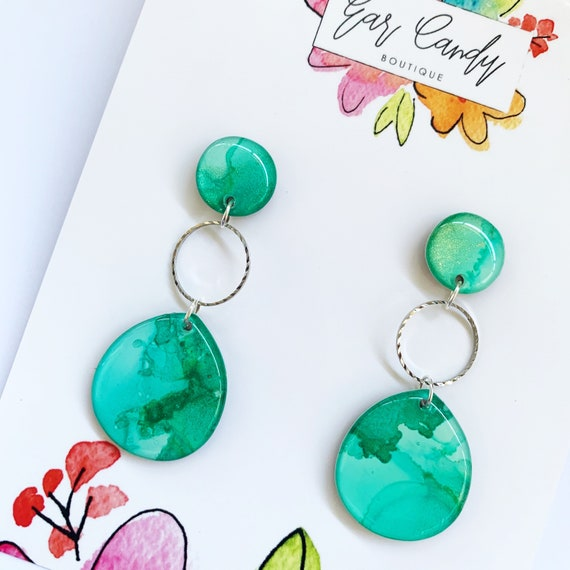 Turquoise Green Ink + Resin 6cm Drop Earrings