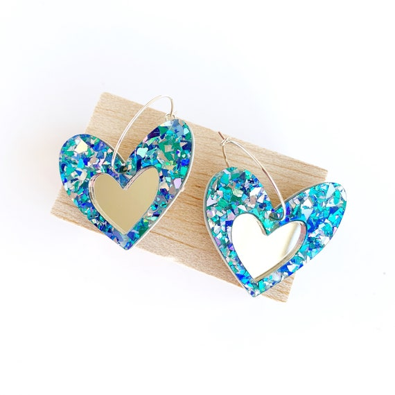 Acrylic Heart Hoops - Turquoise Glitter + Silver Mirror