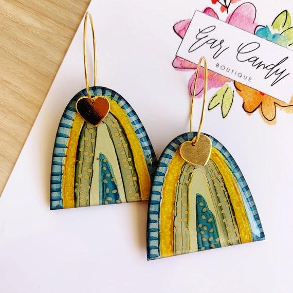 Inky Rainbow Gold Hoop Earrings