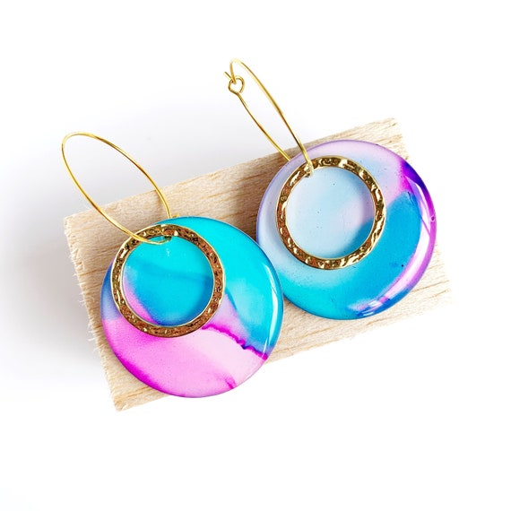 Painted Gold Hoop Earrings- Aqua + Pink