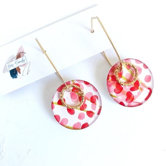 Drawn Petite Ear Wire Earrings with Gold Findings