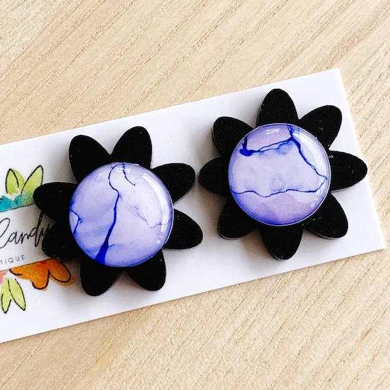 Hand-Painted Ink + Matte Black Acrylic Daisy Studs