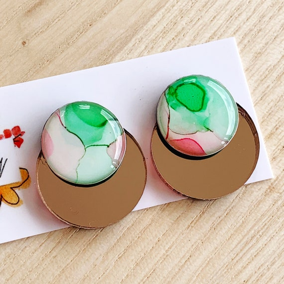 Hand-Painted Ink + Rose Gold Mirror Statement Studs